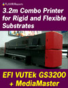 EFI VUTEk GS 3200 UV combo hybrid inkjet printer for outdoor signage POP advertising billboard rigid