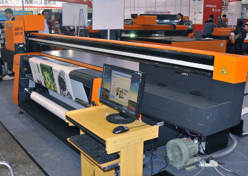 SkyJet Flat Master + Roll UV printer at Dongguan China 2011