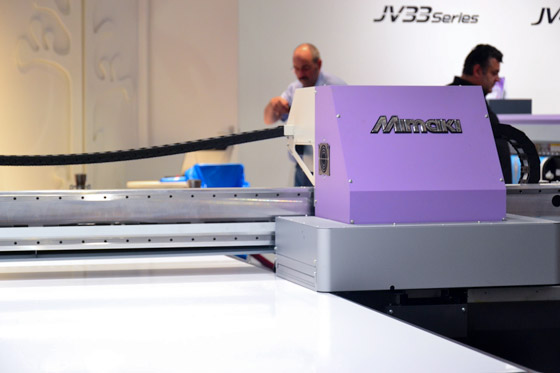 Detailed view of Mimaki JFX 500 flatbed printer at drupa 2012