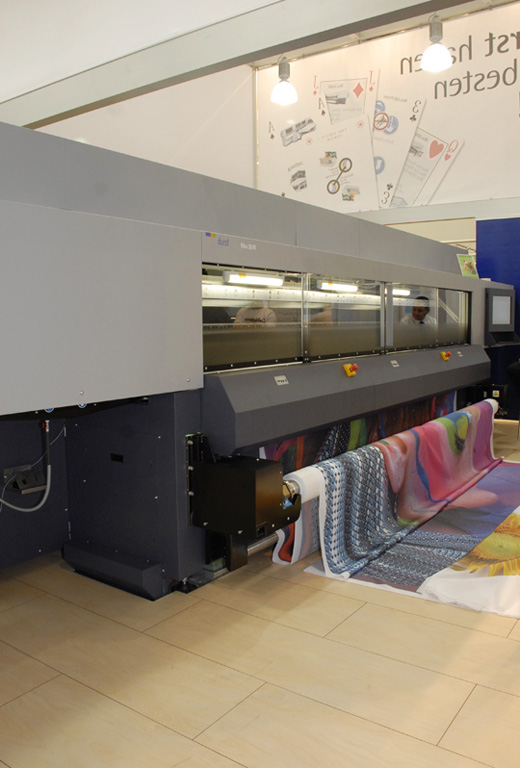 Durst Rho 351R roll-to-roll UV-cured inkjet printer. FESPA trade show 2007