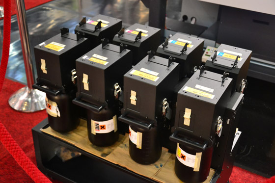 Ink used by Mimaki JFX 500 flatbed printe, drupa 2012 images