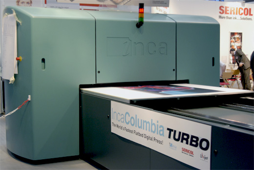 Image of the the Inca Columbia Turbo UV-cured flatbed printers