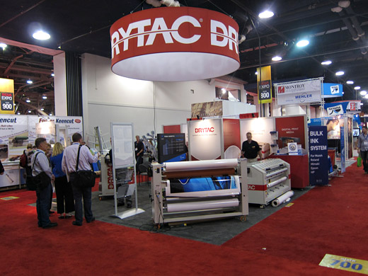 Drytac AFC 1600/2200 water based flood coater exhibited in Drytac booth