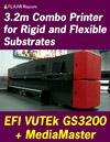 EFI VUTEk GS 3200 UV combo hybrid inkjet printer for outdoor signage POP advertising billboard rigid